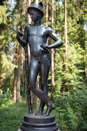 bronze sculpture Mercury, patron god of financial gain, commerce, eloquence, Pavlovsk Park, Saint Petersburg, Russia, original - in the Uffizi Gallery