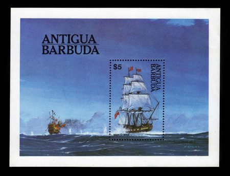 Antigua and Barbuda - CIRCA 1984: a souvenir sheet printed in Antigua and Barbuda shows sea ​​fight, circa 1984
