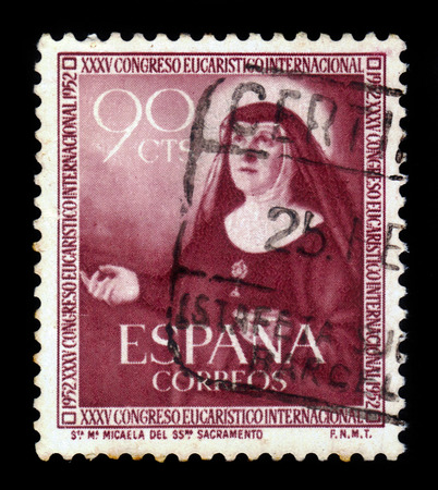 clemency: Spain - CIRCA 1952: A stamp printed in Spain, shows image of Saint Maria Micaela Desmaisieres, founder of the Handmaids of the Blessed Sacrament and of Charity, circa 1952
