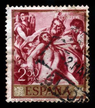 clemency: SPAIN - CIRCA 1961: A stamp printed by Spain shows the Holy Trinity by El Greco, series painters, circa 1961 Editorial
