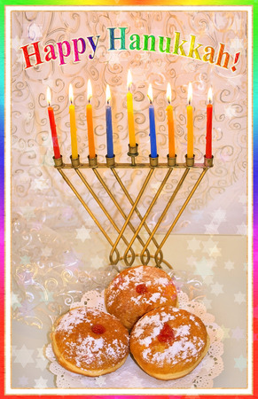 hanukka: Hanukkah greeting card - Hanukkah menorah with burning candles and traditional doughnuts with the inscription Happy Hanukkah Stock Photo