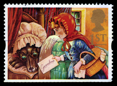 UNITED KINGDOM - CIRCA 1994: A stamp printed in Great Britain shows Little Red Riding Hood and the Grey Wolf as Grandma, circa 1994