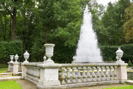 petergof: Fountain \Pyramid\ in the Lower Park of Petergof, Saint Petersburg, Russia Editorial