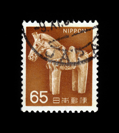 JAPAN - CIRCA 1966: A stamp printed in Japan shows image of the ancient clay horse (Haniwa), circa 1966