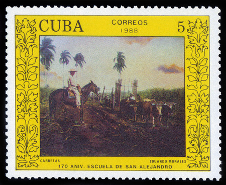 mahout: CUBA - CIRCA 1988: a stamp printed in Cuba, shows Oxcart by Eduardo Morales, devoted to 170 anniversary of the San Alejandro Academy of Fine Arts, Havana, circa 1988 Stock Photo
