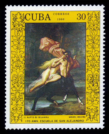 abduction: CUBA - CIRCA 1988: a stamp printed in Cuba, shows Abduction of Deyanira by Miguel Melero, devoted to 170 anniversary of the San Alejandro Academy of Fine Arts, Havana Paintin, circa 1988