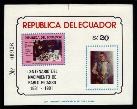 pablo: Ecuador  - CIRCA 1981: a souvenir sheet printed in Ecuador , shows Pablo Picasso paintings, dedicated to the 100th anniversary of his birth, circa 1981 Stock Photo