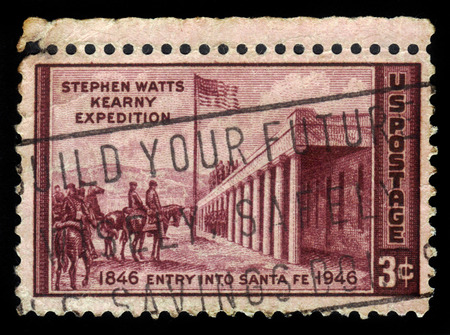 chapman: United States - CIRCA 1946: A stamp printed in United States shows \\\\\\\Capture of Santa Fe\\\\\\\ by Kenneth M. Chapman, circa 1946
