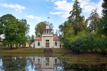 vasily: Chinese pavilion in Catherine park, Tsarskoye Selo (Pushkin), architect Vasily Neelov and Yury Velten, neighborhood of Saint-Petersburg, Russia