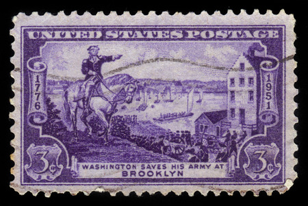 evacuating: United States - CIRCA 1951: A stamp printed in United States shows the General George Washington evacuating Army, Battle of Brooklyn, circa 1951