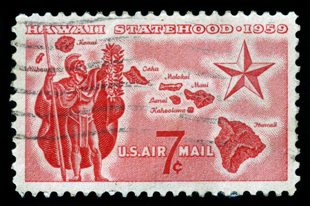 statehood: UNITED STATES OF AMERICA - CIRCA 1959: a stamp printed in the USA  shows Alii Warrior, Map of Hawaii and Star of Statehood, circa 1959