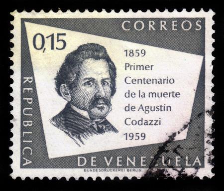 cartographer: Venezuela - CIRCA 1960: A stamp printed in Venezuela shows portrait of Agustin Codazzi, was an italian military, scientist, geographer and cartographer, centenary of the death, circa 1960 Editorial
