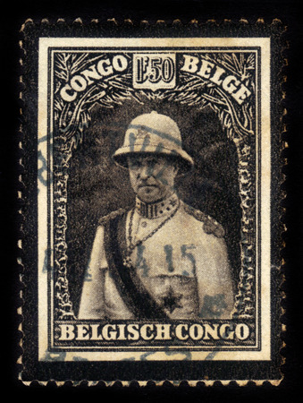 BELGIAN CONGO - CIRCA 1934: A stamp printed in Belgian Congo shows portrait of King Albert I in military costume, mourning stamp, circa 1934 Editorial
