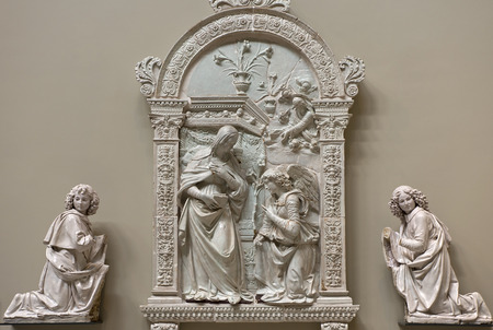 queen of angels: LONDON, UK - July 17: The Annunciation by Giovanni della Robbia,  Victoria and Albert Museum Editorial