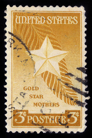USA - CIRCA 1948: A stamp printed in USA shows the Star and Palm Frond, devoted to Honoring mothers of deceased members of the US armed forces, circa 1948