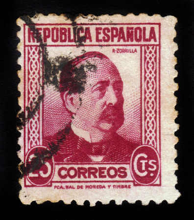 SPAIN - CIRCA 1933: A stamp printed by Spain shows portrait of Zorrilla, Manuel Ruiz, (1833-1895), spanish politician, circa 1933 Editorial