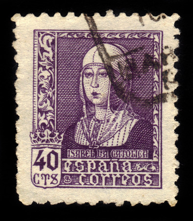 queen isabella: SPAIN - CIRCA 1937: A stamp printed in Spain shows portrait of Queen Isabella the Catholic, circa 1937