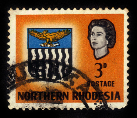 Northern Rhodesia - CIRCA 1963: a stamp printed in Northern Rhodesia, protectorate of the United Kingdom shows coat of arms, circa 1963