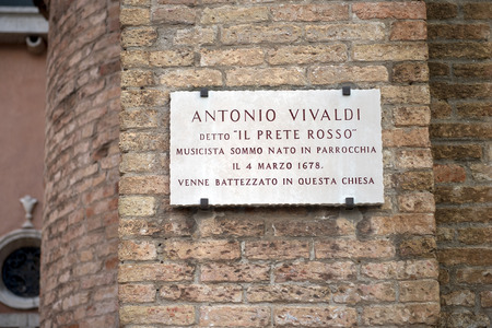 memorial plaque: memorial plaque on the wall of the church where he was baptized great Italian musician Antonio Vivaldi, Venice, Italy