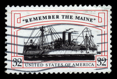 united states postal service: UNITED STATES - CIRCA 1998: A stamp printed in the United States, shows armored cruiser USS Maine (ACR-1), with inscription remember the maine, circa 1998