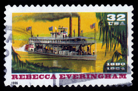 united states postal service: UNITED STATES OF AMERICA - CIRCA 1996: a stamp printed in the USA shows Rebecca Everingham, riverboat , circa 1996