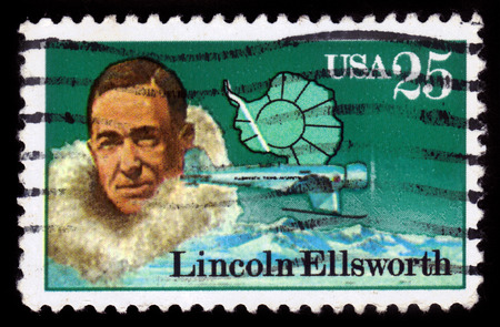 united states postal service: UNITED STATES OF AMERICA - CIRCA 1988: a stamp printed in the USA shows Lincoln Ellsworth, american polar explorer, circa 1988