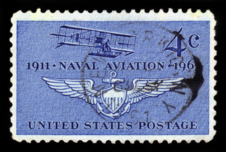 UNITED STATES OF AMERICA - 1961: A stamp printed in the USA shows first plane of Naval Aviation (Curtiss A-1 of 1911), 50th Anniversary, 1961
