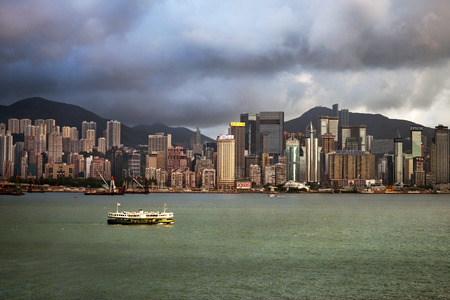 victoria harbor: HONG KONG - September 25: view of skyscrapers, modern office buildings and shopping centers from Victoria Harbor on September 25, 2013 in Hong Kong, China