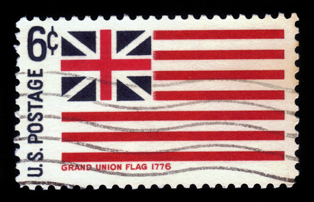 UNITED STATES OF AMERICA - CIRCA 1968: A stamp printed in the USA shows flag of Grand Union, 1776, circa 1968