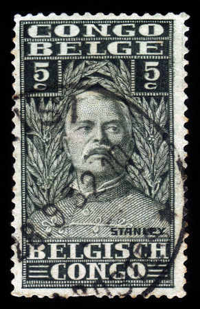BELGIAN CONGO - CIRCA 1928: A stamp printed in Belgian Congo shows portrait of Sir Henry Morton Stanley, was a welsh journalist and explorer, circa 1928 Editorial
