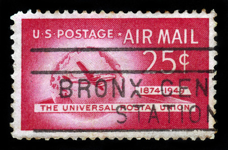 united states air force: UNITED STATES OF AMERICA - CIRCA 1949: A stamp printed in USA shows Boeing Stratocruiser and Globe, Universal Postal Union Issue, circa 1949