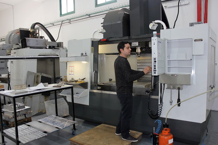 toolroom: Haifa, Israel - January 18: small workshop with a lathe and milling machines cnc on January 18, 2015 in Haifa, Israel