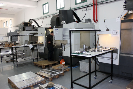Haifa, Israel - January 18: small workshop with a lathe and milling machines cnc on January 18, 2015 in Haifa, Israel