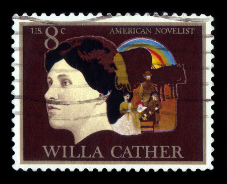 novelist: USA - CIRCA 1973: A stamp printed in USA shows Willa Sibert Cather american author novelist, was awarded the Pulitzer Prize, circa 1973