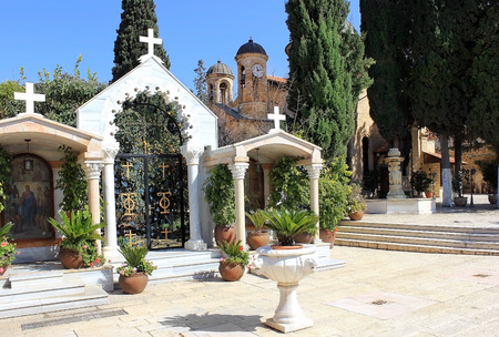 courtyard in the orthodox church of the first miracle (wedding church), Kafr Kanna, Israel,  a place where Jesus turned the water into wine ( first miracle ) Stock Photo