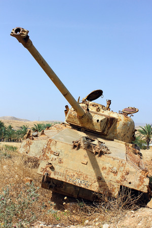 israel war: old destroyed tank left over from the Six Day War in Israel