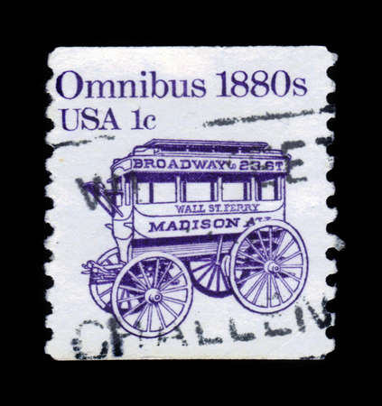 omnibus: USA - CIRCA 1983: a stamp printed in the USA shows an omnibus in 1880, circa 1983