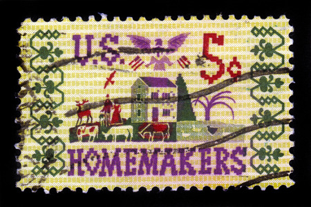 homemakers: USA - CIRCA 1964: A stamp printed in United States of America shows farm scene, homemakers, circa 1964