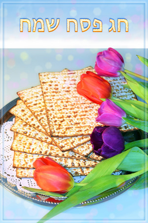 attributes: jewish holiday of Passover and its attributes, with matzo and spring tulips with an inscription in hebrew - Happy Passover Stock Photo