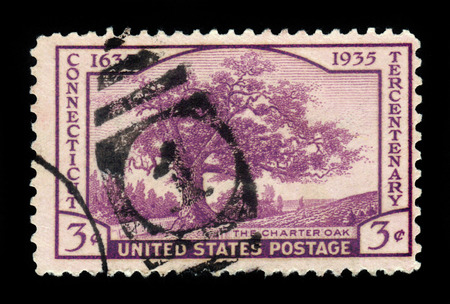 charter: UNITED STATES OF AMERICA - CIRCA 1935: a stamp printed in USA shows the Charter Oak, Connecticut tercentenary issue, circa 1935