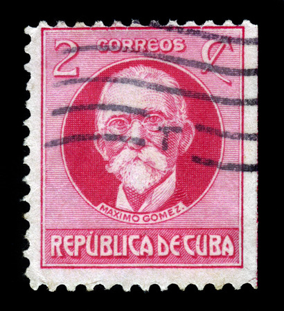 maximo: CUBA - CIRCA 1925: A stamp printed in Cuba shows Maximo Gomez, cuban military commander in the cuban war of Independence, circa 1925 Editorial