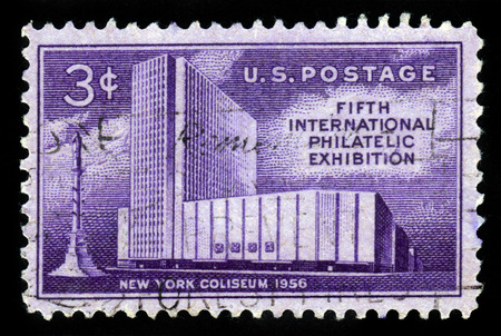 philatelic: UNITED STATES OF AMERICA - CIRCA 1956: A stamp printed in USA shows New York Coliseum and Columbus Monument, fifth international philatelic exhibition issue, circa 1956