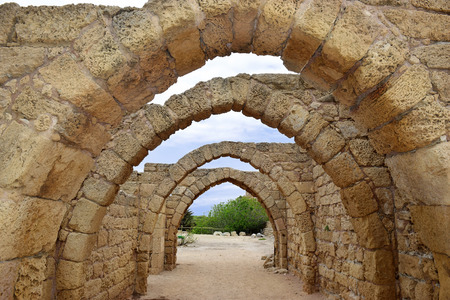 crusaders: remains of the archs over the main streets of the ancient city of Caesarea, built by the Crusaders during the Crusades, Israel Stock Photo