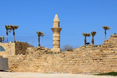 caesarea: minaret of Caesarea Maritima at ancient port Caesarea, built by the Crusaders during the Crusades, Israel