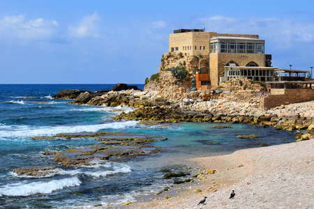 caesarea: Caesarea, Israel - march 19 : ancient port  in Caesarea Maritima, march 19, 2015 Caesarea, Israel. harbor was built by Herod the Great at mediterranean coast of Israel