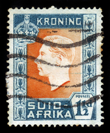 vi: SOUTH AFRICA - CIRCA 1937: a stamp printed in South Africa, shows King George VI, from the \Coronation\ issue , circa 1937