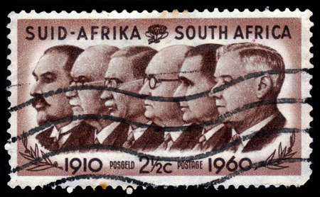 smuts: SOUTH AFRICA - CIRCA 1960: A stamp printed in South Africa shows Prime Ministers Louis Botha, Jan Christiaan Smuts, James Barry Munnik Hertzog, Johannes Gerhardus Strijdom and Hendrik Verwoerd, circa 1960