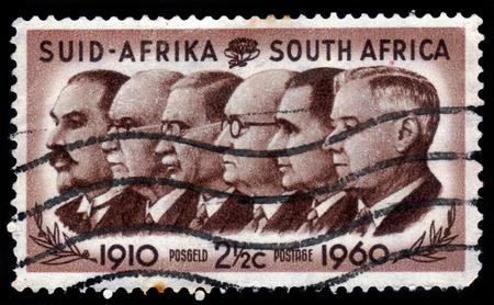ministers: SOUTH AFRICA - CIRCA 1960: A stamp printed in South Africa shows Prime Ministers Louis Botha, Jan Christiaan Smuts, James Barry Munnik Hertzog, Johannes Gerhardus Strijdom and Hendrik Verwoerd, circa 1960