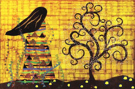symbolic woman: stylized female figure looks at magic tree abstract illustration in the style of Gustav Klimt Stock Photo