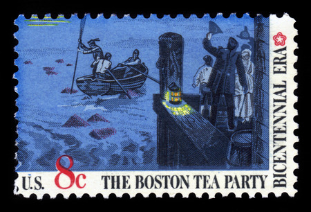 boston tea party: UNITED STATES  CIRCA 1973: a stamps printed in USA showing an The Boston Tea Party was a nonviolent political protest by the Sons of Liberty in Boston on December 16 1773 circa 1973